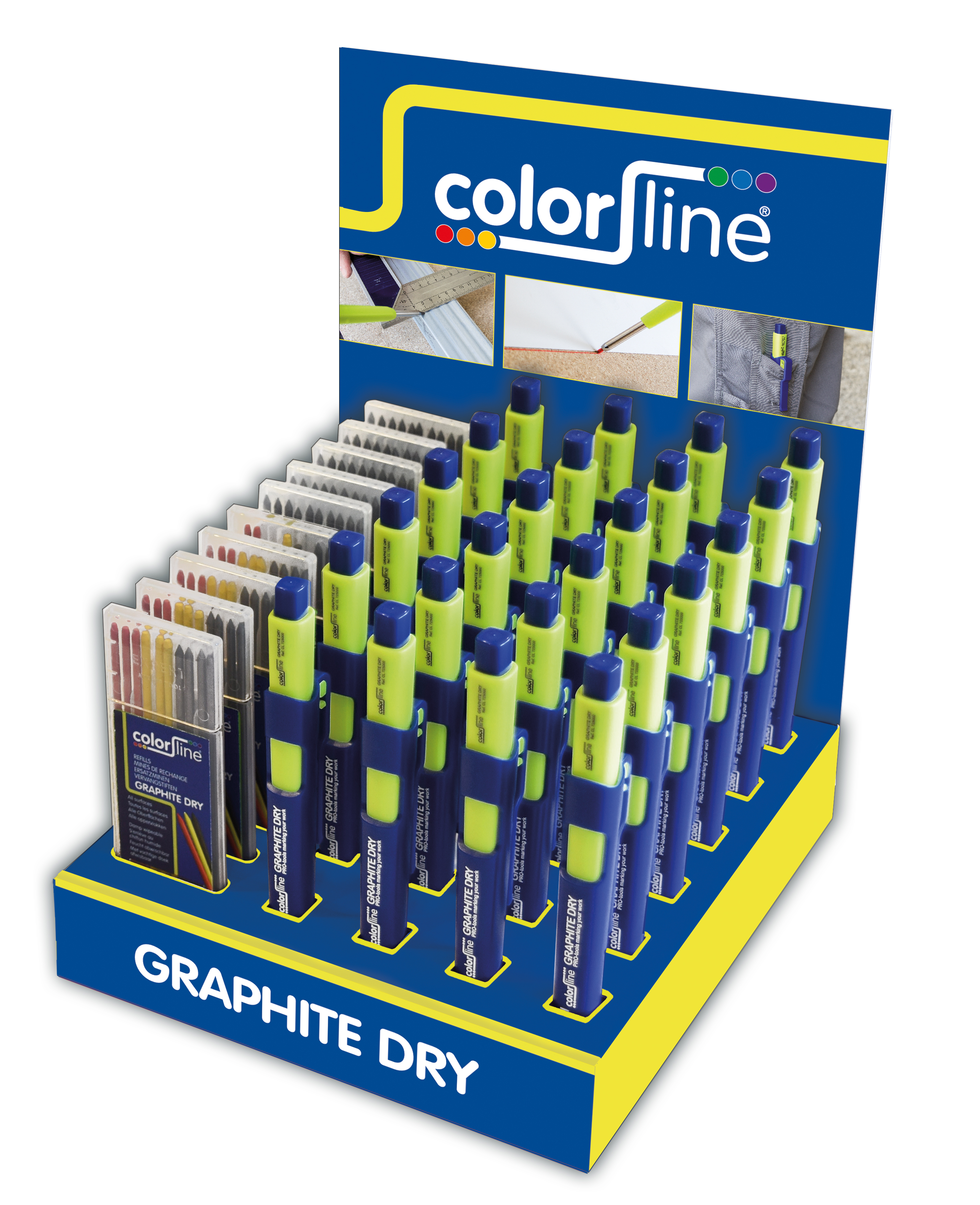 Assortiment de porte-mine et mines de rechange en display: 24 X Crayon GRAPHITE DRY + + 5x10 GR + 5x10 mix mines graphite
