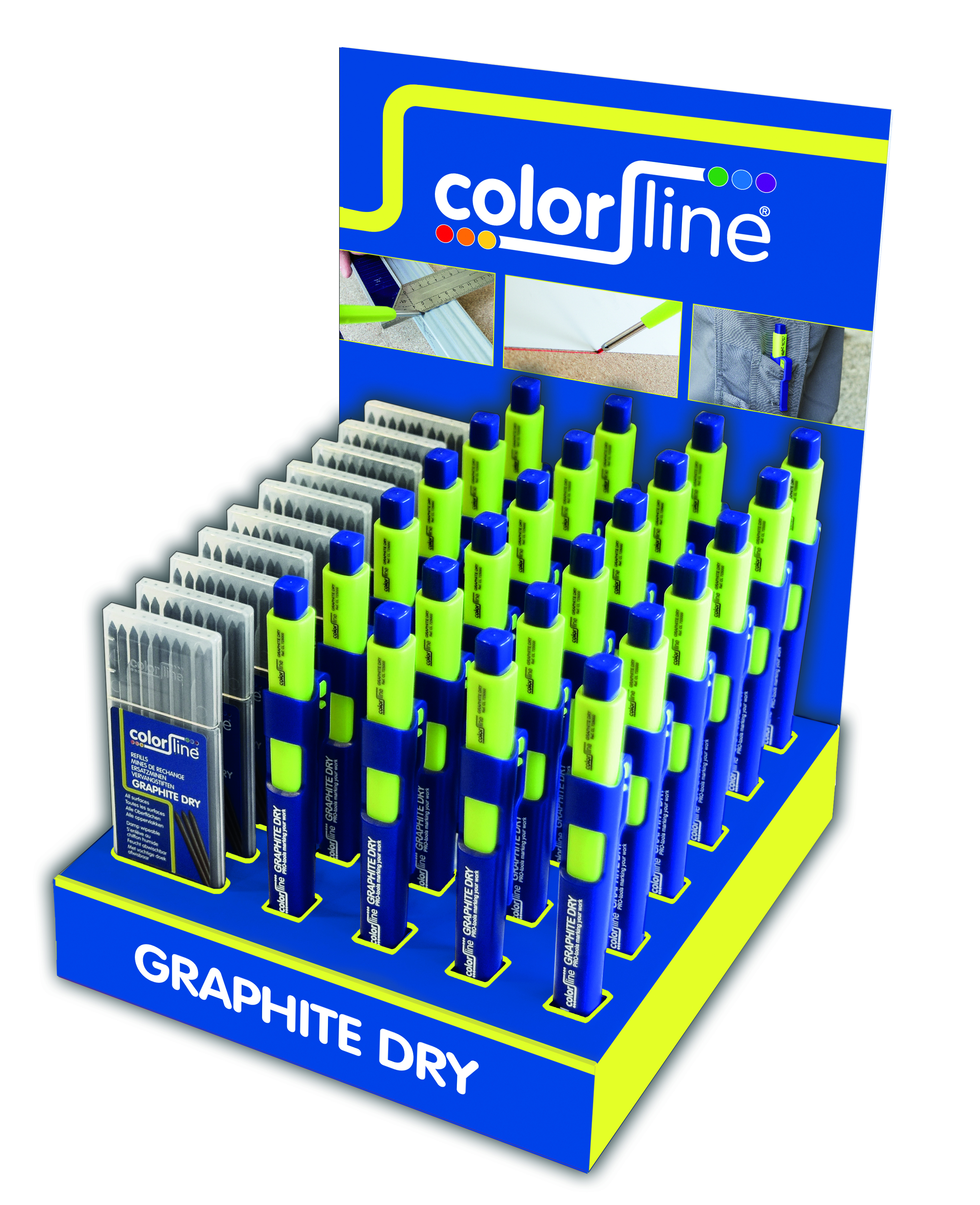 Assortiment de porte-mine et mines de rechange en display: 24 X Crayon GRAPHITE DRY + 10 x mines graphites