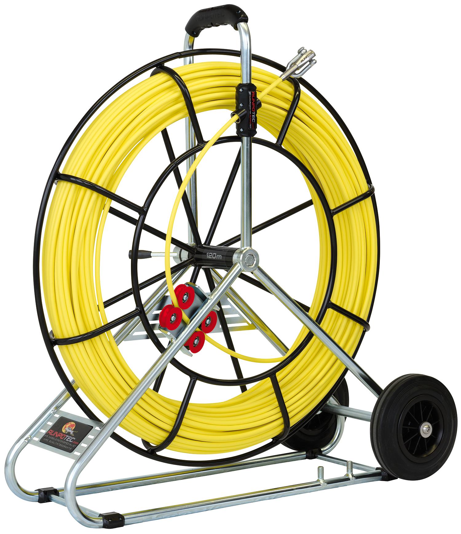 Baguette en fibre de verre Ø 9,0 mm avec enrouleur en acier et roue de transport - 120 m